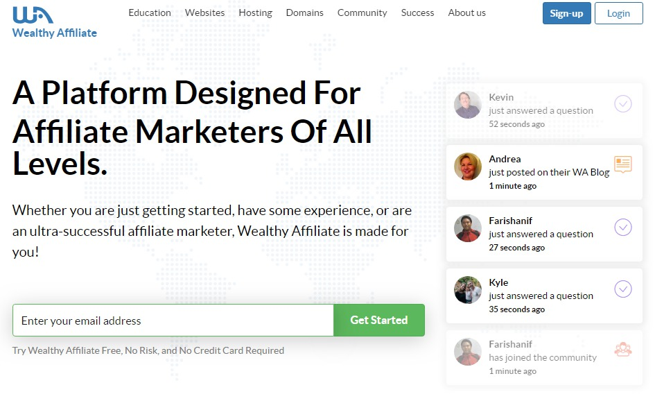 Wealthy Affiliate - sign up page the easy way to start an online business from scratch